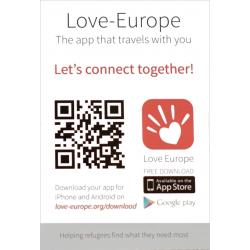 Uitdeelkaartje,  Love Europe App, Meertalig
