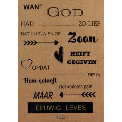 Nederlands, Tekstkaart, Joh.3 vers 16