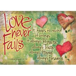 Engels, Kaart, Love never fails, 6 stuks